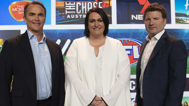 Seven executives Kurt Burnette, Natalie Harvey and Angus Ross at the Upfronts on Friday.