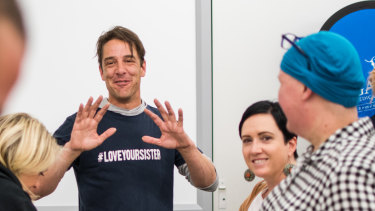 Actor and cancer activist Samuel Johnson speaks to cancer patients and staff at Brisbane's Greenslopes Hospital.