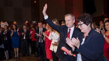 Federal Labor leader Bill Shorten and Penny Sharpe at the NSW Labor launch at Revesby on Sunday.