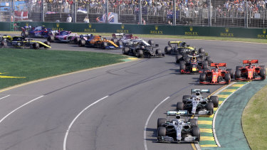 Storming off the grid: Valtteri Borras leads from the start of the Australian Grand Prix in Melbourne on Sunday.