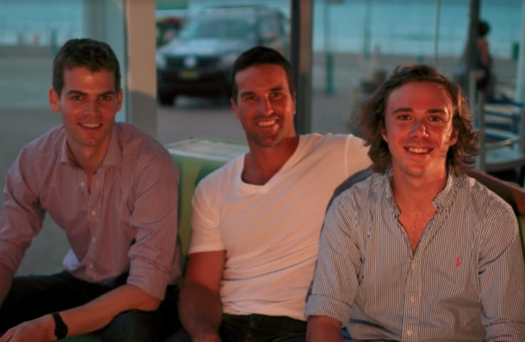 Pat Rafter with Hugh Minson and Jack Morphett from The Thread.