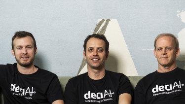 Jonathan Elial (left), Yonatan Geifman and professor Ran El-Yaniv (right) are the co-founders of Deci.