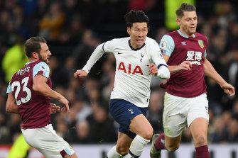 Heung-Min Son of Tottenham Hotspur breaks past Erik Pieters of Burnley en route to his stunning goal.