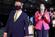John Coates (left) and Queensland Premier Annastacia Palaszczuk at the 2032 Games announcement.