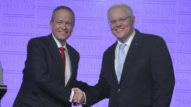 Opposition Leader Bill Shorten and Prime Minister Scott Morrison  at the National Press Club on Wednesday.