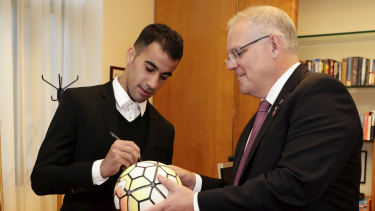 Prime Minister Scott Morrison meets with footballer Hakeem al-Araibi last week.