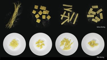 Four types of the pasta before and after boiling in an undated photo.