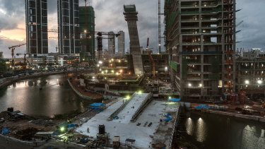 Construction projects by South Korean, Chinese and Indian companies stand in the changing skyline of Colombo, Sri Lanka.