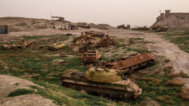 Derelict Russian tanks on hilltop base overlooking Kunduz, Afghanistan, that was captured in 2015 by the Taliban.