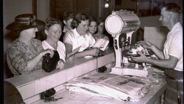 Meat rationing commences in butchers shops. Bankstown, January 1944.
