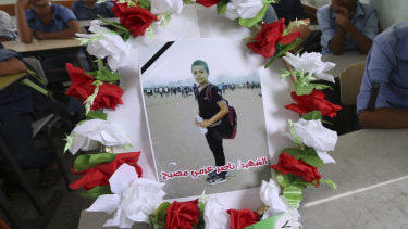 A photo of 11-year-old Nasser Musabeh, who was shot and killed by Israeli troops on Friday during a protest at the Gaza Strip's border with Israel.