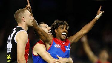 Crackling energy: Kysaiah Pickett celebrates a goal against the Saints.