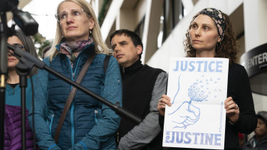 """People supporting """"Justice for Justine"""" outside the Minneapolis courtroom this week."""