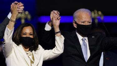 Victory: President-elect Joe Biden with his vice president-elect Kamala Harris.