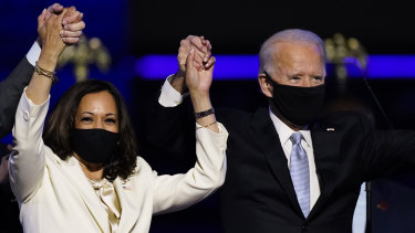 Kamala Harris and Joe Biden celebrate their victory.
