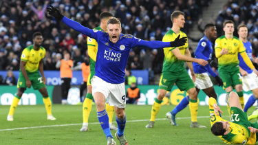 Jamie Vardy reacts after scoring for Leicester at The King Power Stadium.