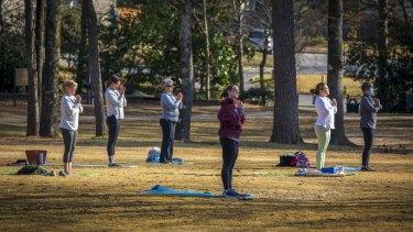 A yoga class in Birmingham, Alabama.