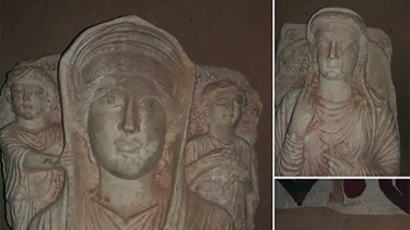 Busts purportedly taken from the ancient city of Palmyra in Syria, for sale on Facebook.