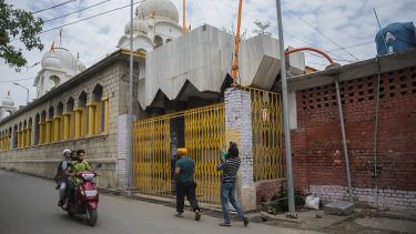 Outside Chatti Padshahi, a Sikh place of worship, called a gurudwara, in Srinagar, India.