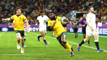 Stymied comeback: Marika Koroibete pegs one back for the Wallabies.
