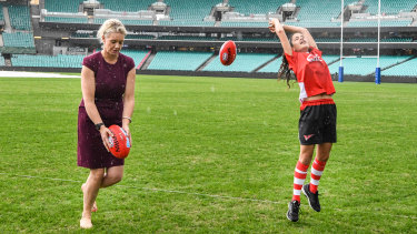 Game changer: Federal Sports Minister Bridget McKenzie and Zali Deep from the Swans academy.