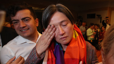 Senator Wong in tears after the same-sex marriage vote.