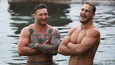 Tariq Sims and Jack de Belin during a Blues recovery session at Coogee Beach in 2018.