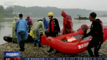 Rescue workers searching for drowned children in a river in Chongqing in June 2020. Drownings are the number one cause of accidental deaths for Chinese children, according to the World Heath Organisation.