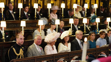 The Duke of Cambridge, the Prince of Wales, the Duchess of Cornwall, the Duchess of Cambridge, the Duke of York, Princess Beatrice, Princess Eugenie sitting in St George's Chapel at Windsor Castle.