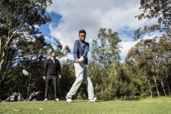 Aryan Krishan and his father, Sanjay, have started playing golf together during year 12.