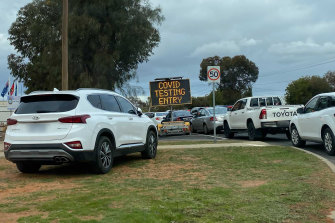 Queues at the testing clinic in Mildura on Sunday afternoon.