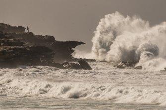 Large waves at Maroubra Beach on Saturday.
