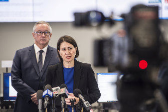 NSW Premier Gladys Berejiklian, pictured with NSW Health Minister Brad Hazzard, ramped up the campaign for lockdown.