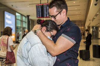 Conor Horgan and Emily Torney reunited at Sydney Airport.