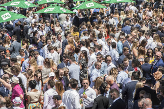 Racegoers pack into Randwick Racecourse on the weekend.