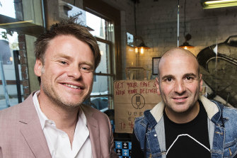 Radek Sali and George Calombaris at Jimmy Grants in Fitzroy in 2016.