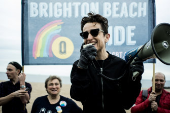 Masha Gessen speaks at the first Russian-speaking LGBT Pride march in Brooklyn in 2017.