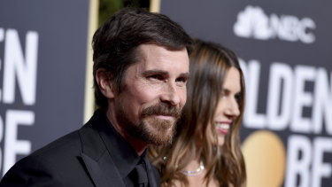 Christian Bale arriving at the Golden Globes.