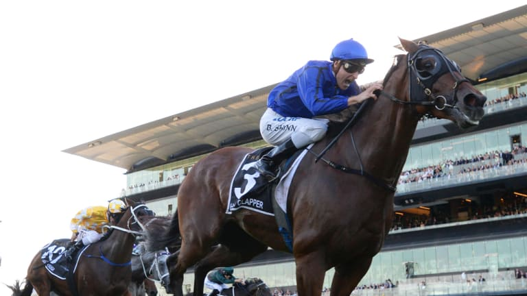Doncaster delight: Happy Clapper takes out the Doncaster at his third attempt.