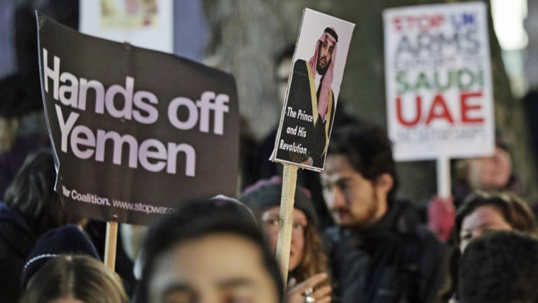 The Iranian online influence operation seeks to shape global opinions on the War in Yemen, among other issues. Here, protesters in London are photographed weighing in on the issue.