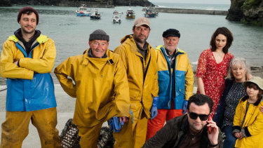 Daniel Mays (front) stars as Danny, the music label manager who 'discovers' a group of Cornwall see-shanty singers and turns them into pop stars in the based-on-fact comedy Fisherman's Friends. James Purefoy (cap) and Tuppence Middleton also star.