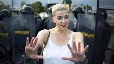 Maria Kolesnikova, one of Belarus' opposition leaders, during a rally in Minsk in August.