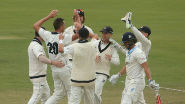 Victoria's Chris Tremain (second left) celebrates taking the wicket of NSW's Steve O'Keefe on day four.