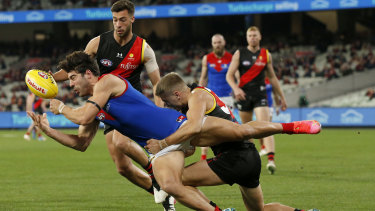 Christian Petracca and the Demons faced a tough battle from the outset against the plucky young Bombers.