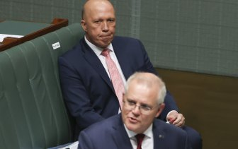 Scott Morrison and Peter Dutton in Question Time on Thursday.