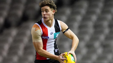 Nick Coffield runs with the ball in St Kilda's win over Richmond.