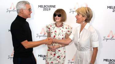 Baz Luhrmann with Anna Wintour and Julie Bishop on Thursday.