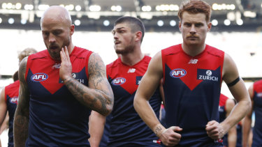 Nathan Jones (left) and the Demons head off the ground after the loss to Collingwood.