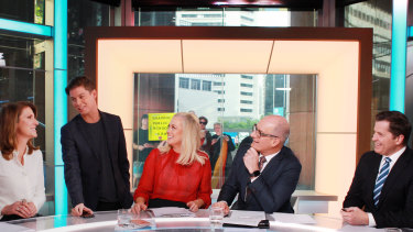 Pell on the Sunrise set with Natalie Barr, Samantha Armytage, David Koch and Ryan Phelan.
