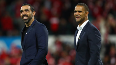 Swans legends Adam Goodes and Michael O'Loughlin in 2016.